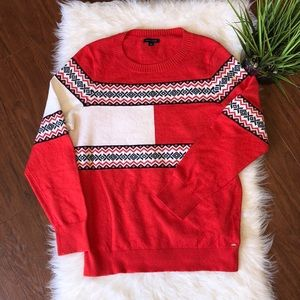 Tommy Hilfiger Red White Blocks Cozy Sweater